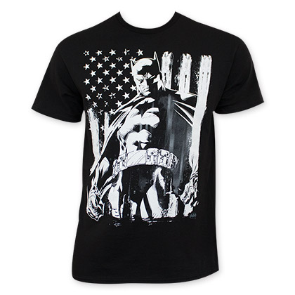 Batman Men's Black American Flag Chalk T-Shirt