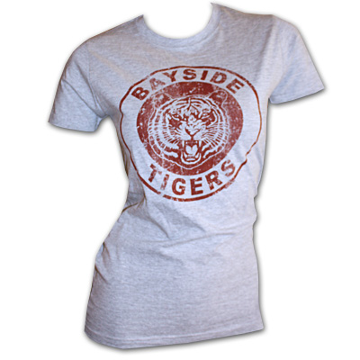 Saved By The Bell Bayside Tigers Grey Juniors Graphic Tee Shirt
