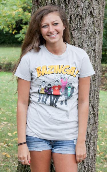 8f3e8289 The Big Bang Theory Group Bazinga Silver Graphic Juniors Tee Shirt