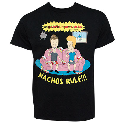 Beavis And Butthead Nachos Rule MTV Men's Black T-Shirt