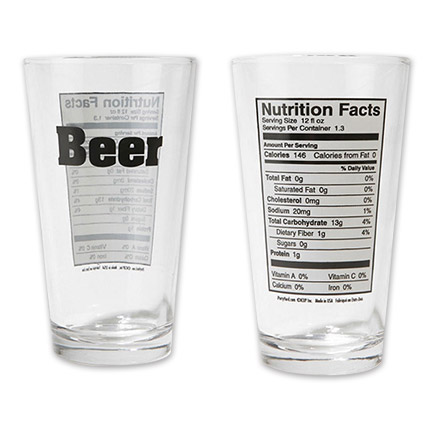 Beer Nutritional Facts Pint Glass