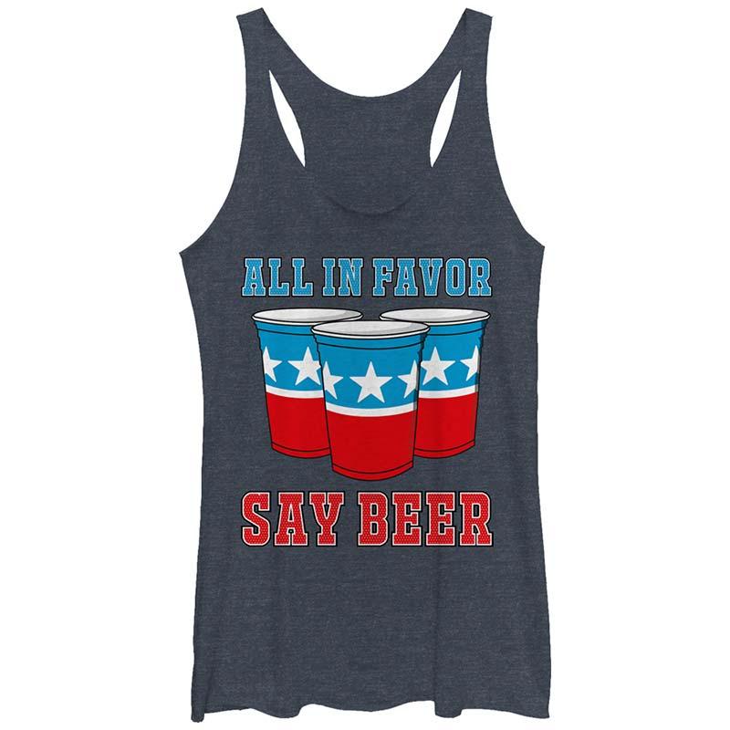 Patriotic All In Favor Say Beer Women's Tank Top