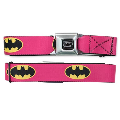 Batman Bat Sign Pink Seatbelt Belt