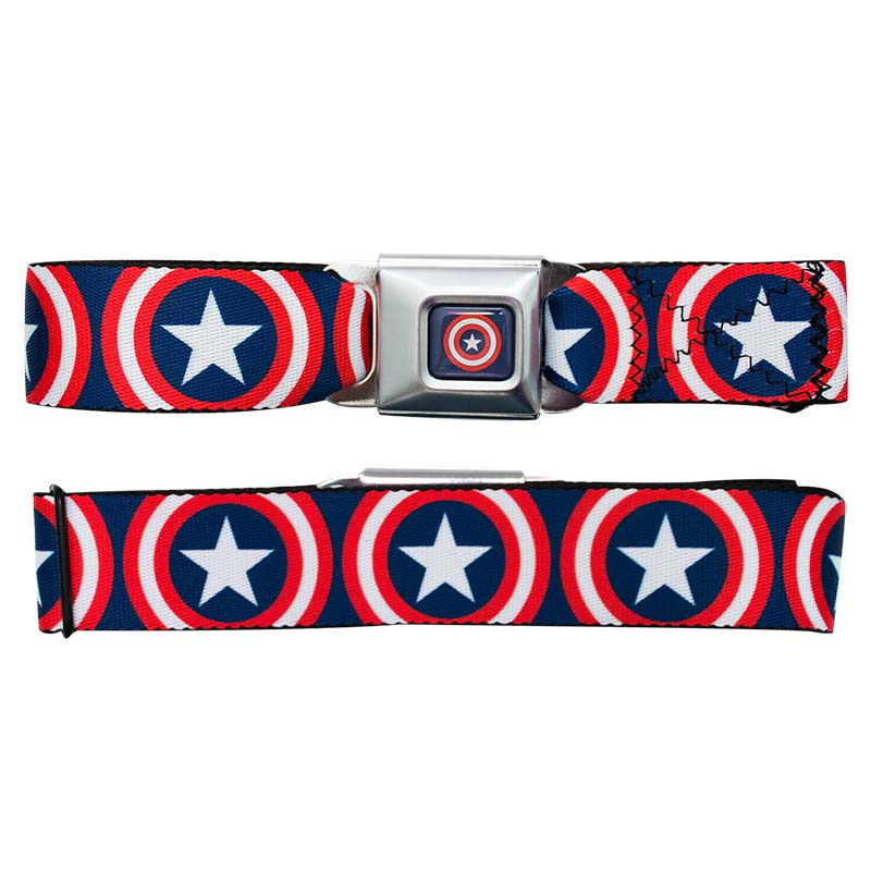 Captain America Logo Seatbelt Buckle Belt