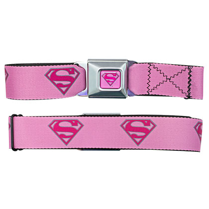 Superman Pink Logos Seatbelt Belt