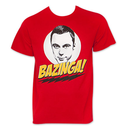 Red Superhero Bazinga Big Bang Theory Sheldon TShirt