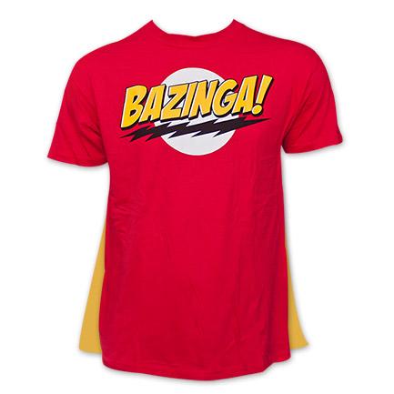 Big Bang Theory Bazinga! T Shirt with Cape - Red