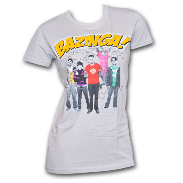 The Big Bang Theory Group Bazinga Silver Graphic Womens TShirt