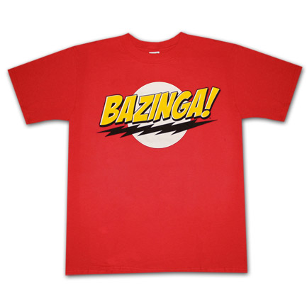 Big Bang Theory Bazinga Logo Red Graphic Tee Shirt