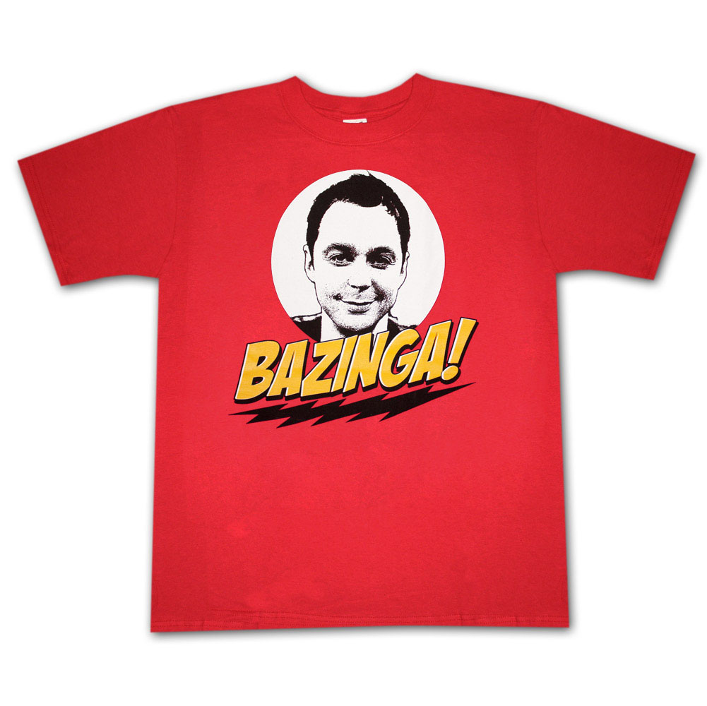 Big Bang Theory Bazinga Sheldon Face Red Graphic TShirt