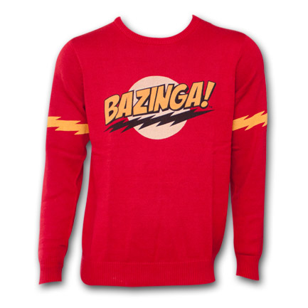 Big Bang Theory Bazinga Logo Sweater Red