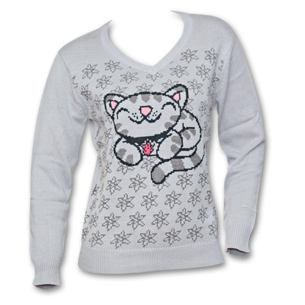 Big Bang Theory Soft Kitty Graphic Women's Sweater - Grey