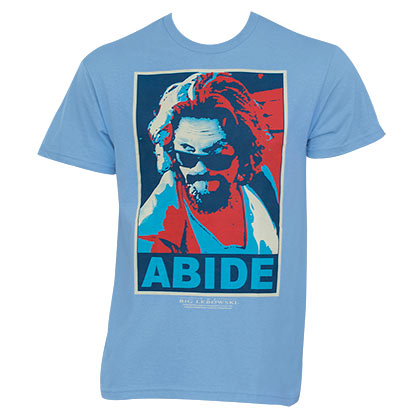 The Big Lebowski Abide Poster Blue Graphic TShirt