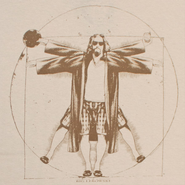 The Big Lebowski Vitruvian Da Vinci Tan Graphic TShirt
