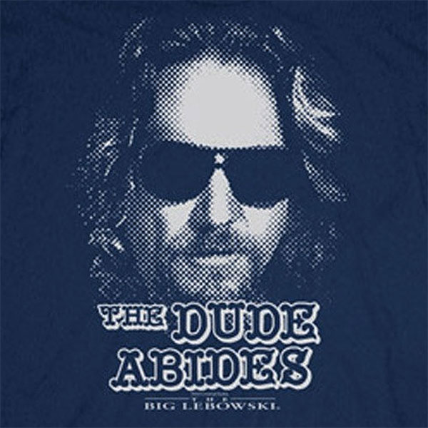 The Big Lebowski The Dude Abides Navy Blue Graphic T-Shirt