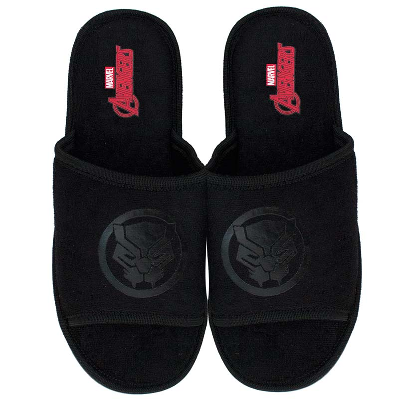 Black Panther Soccer Slides Black On Black Sandals