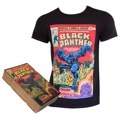 Black Panther Men's Black Comic Cover Boxed T-Shirt