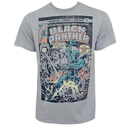 Black Panther Comic Comic Men's Gray Tee Shirt