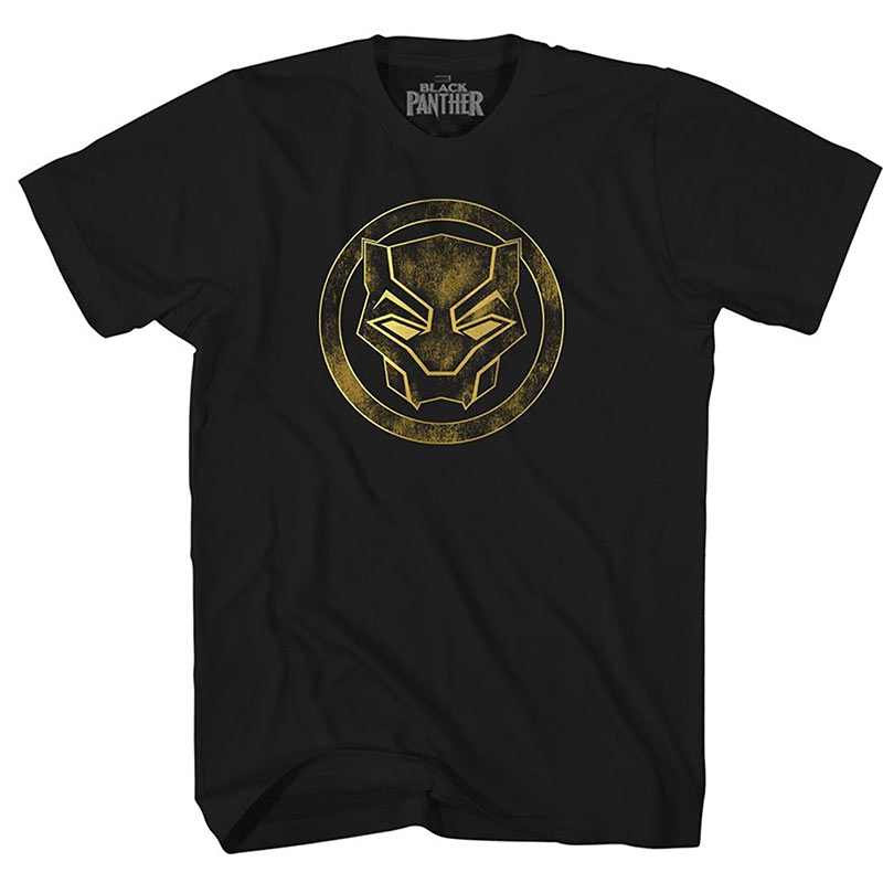 Black Panther Gold Foil Weathered Logo Black Mens T-Shirt