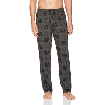 Black Panther Superhero Logo Men's Gray Pajama Sleep Pants