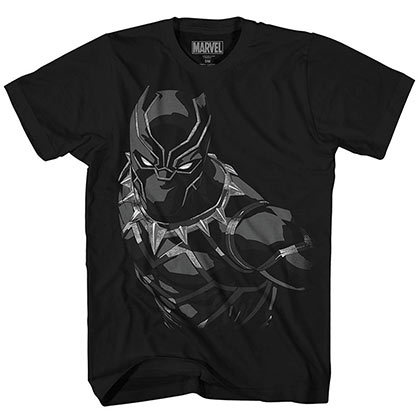 Black Panther Liquid Silver Black Mens T-Shirt