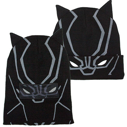 Black Panther Flip Down Black Winter Hat