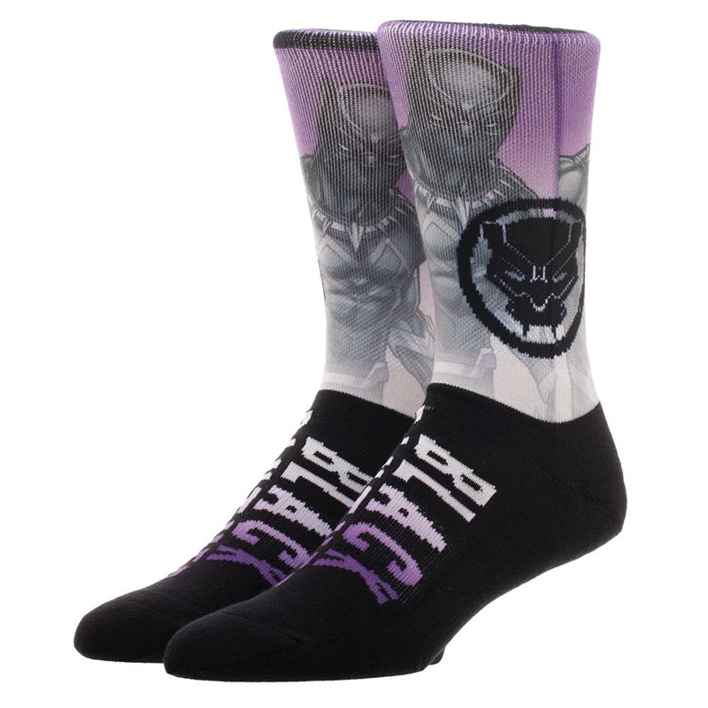 Black Panther Sublimated Knit Comic Crew Socks