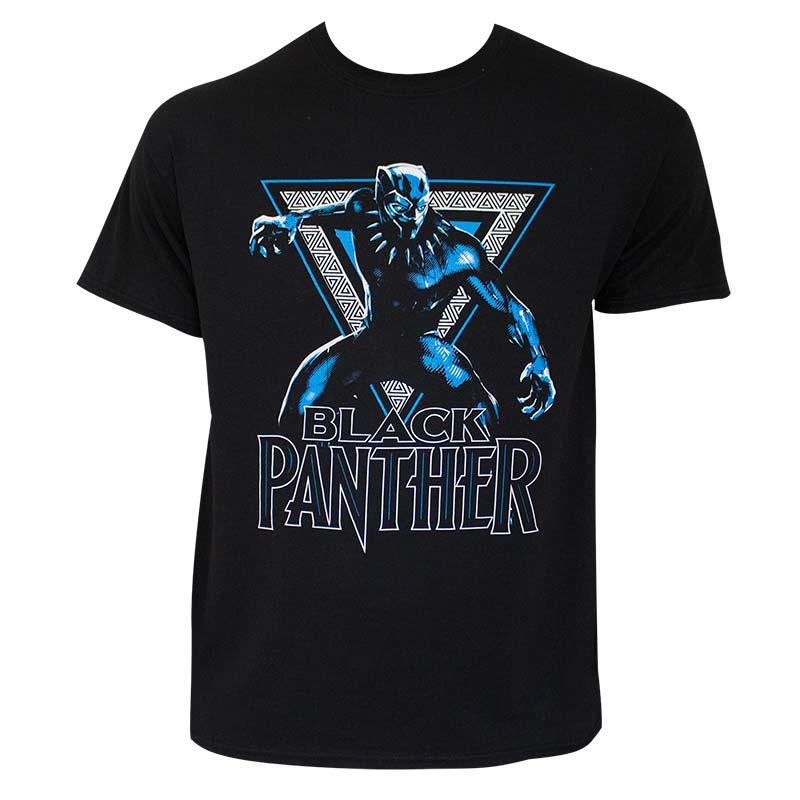 Black Panther Triangle Logo Black Tee Shirt