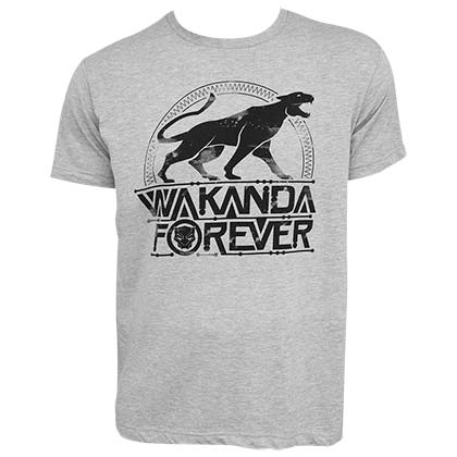 Black Panther Emblem Wakanda Forever Men's Grey Tee Shirt