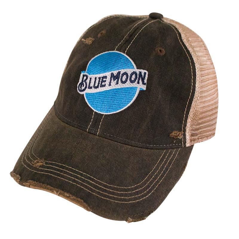 Blue Moon Logo Retro Brand Brown Mesh Trucker Hat