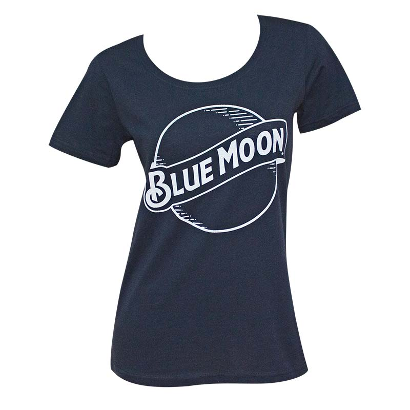 Moon Women's Navy Blue Round Logo T-Shirt