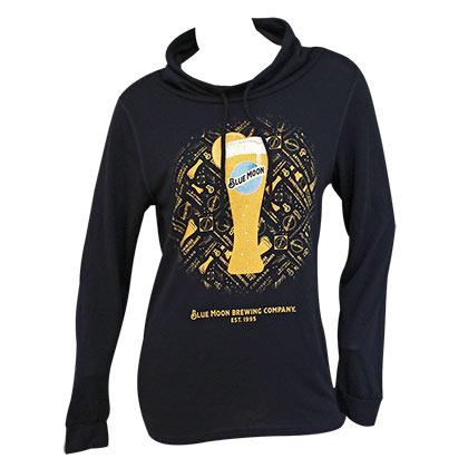 Blue Moon Women's Glass High Neck Black Sweatshirt