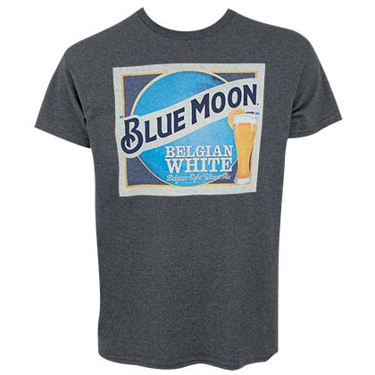Blue Moon Label Logo Heather Gray Men's T-Shirt