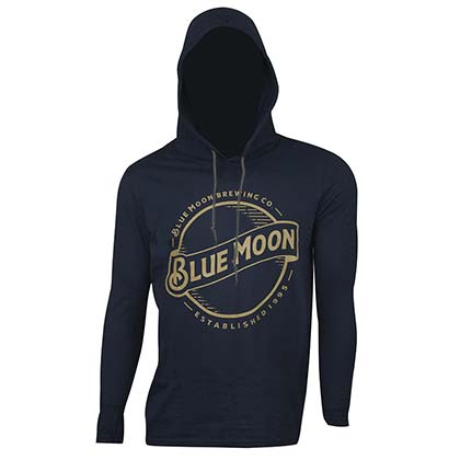 Blue Moon Men's Classic Navy Hooded TShirt