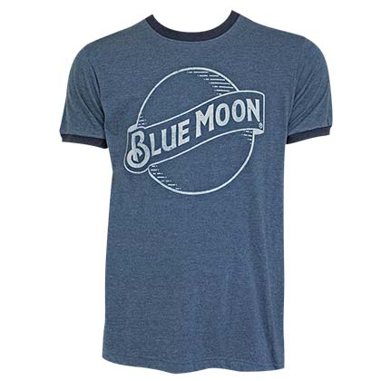 Blue Moon Logo Men's Navy Blue Ringer T-Shirt