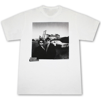 Blues Brothers Squared White Graphic T Shirt