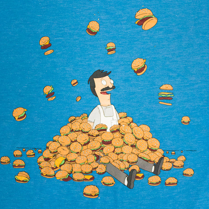 Bob's Burgers Men's Blue Burger Pile Tee Shirt