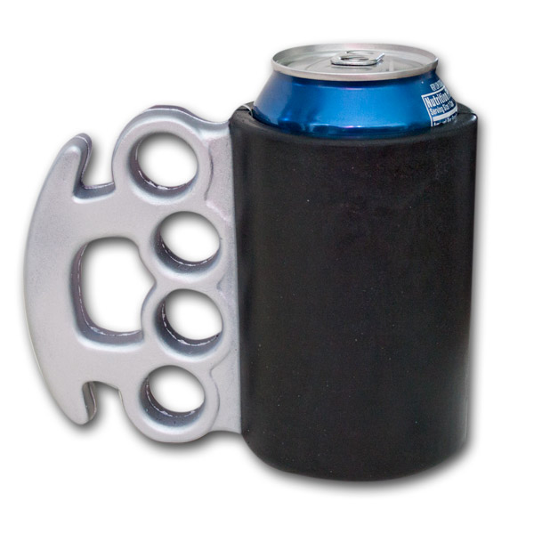 Funny Can Coolers ~ Brass knuckles funny can cooler