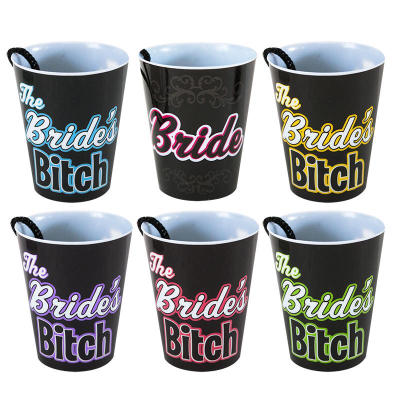Bachelorette 6 Pack Set Shot Glass Necklaces