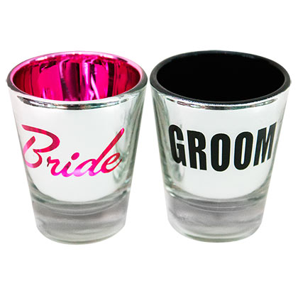 Bride and Groom Wedding Bachlorette 2 Pack Shot Glass Set