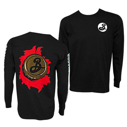 Brooklyn Brewery Long Sleeve Skater Men's Black Tee Shirt