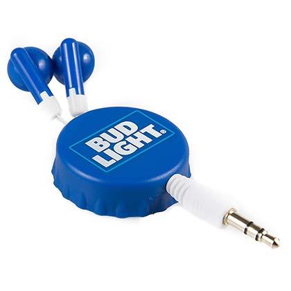 Bud Light Retractable Bottle Cap Ear Buds