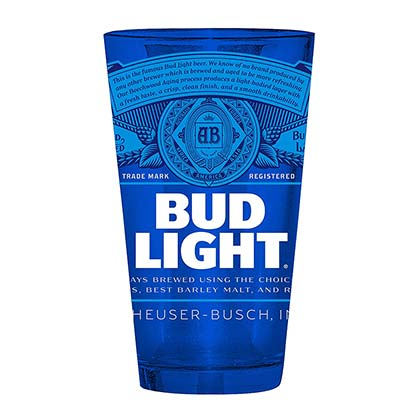 Bud Light Label Blue Beer Pint Glass