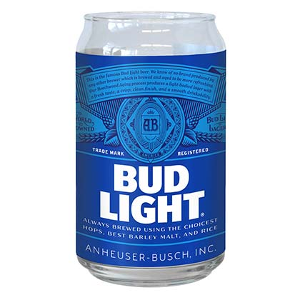 Bud Light Can Shaped Glass