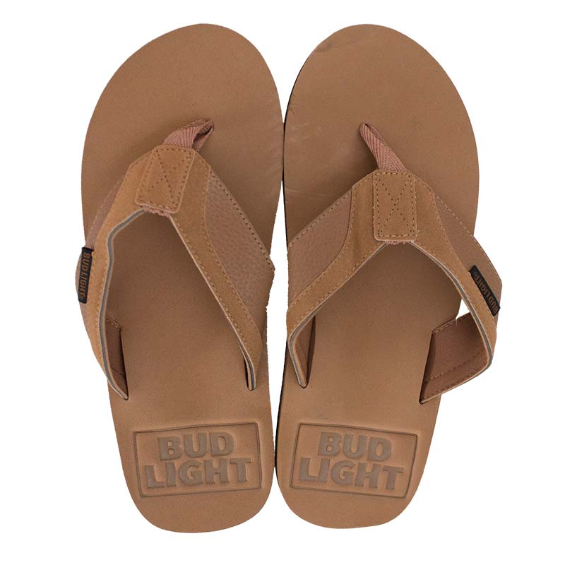 Bud Light Tan Debossed Men's Sandals