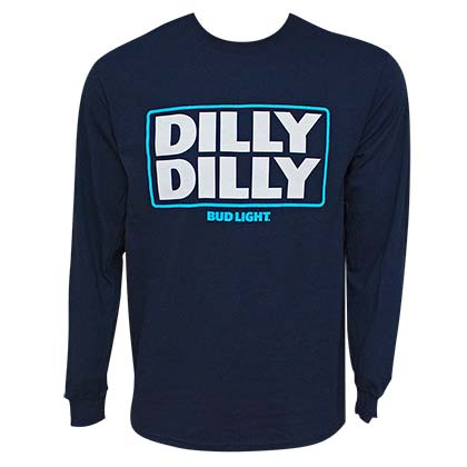 Bud Light Men's Navy Blue Long Sleeve Dilly Dilly T-Shirt