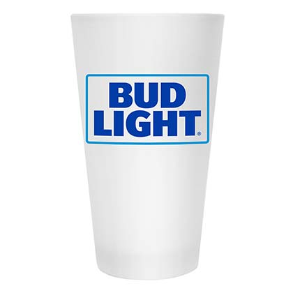 Bud Light Beer Frosted Glass