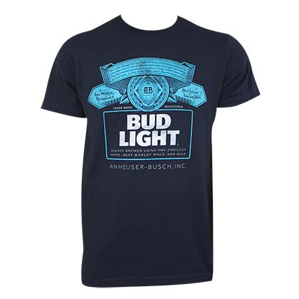 Bud Light Men's Navy Blue T-Shirt