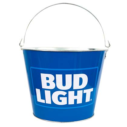 Bud Light Logo Blue Metal Bucket
