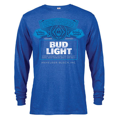 Bud Light Label Long Sleeve Men's Blue Tee Shirt